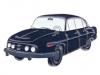 Kovový odznak odlévaný Autíčko modré Tatra 603 - nikl