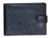 Kožená peněženka s ražbou loga hasiči-helma v černém provedení