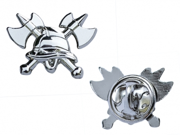 Odznak hasiči 3D helma a sekery stříbrný