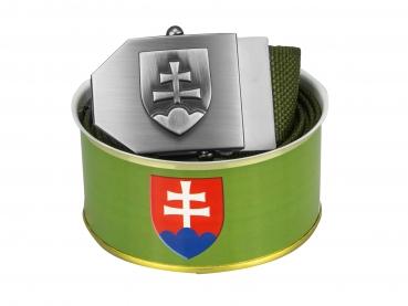 736 - Opasek Slovenský znak 3D - khaki  + DÁRKOVÉ BALENÍ