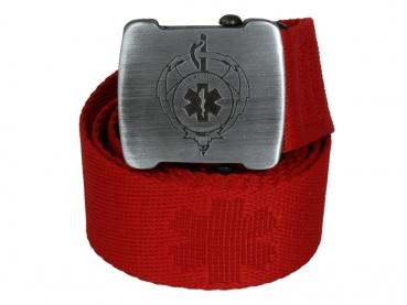 cerveny textilni opasek transhospital s patentovanym otvirakem na pivo
