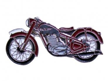 Kovový odznak odlévaný Červená motorka Jawa - nikl