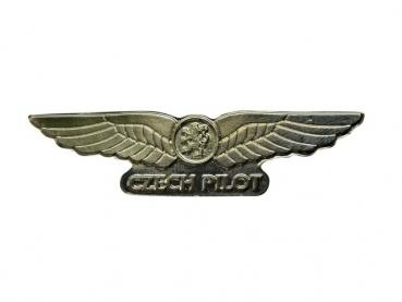 Kovový odznak odlévaný Czech Pilot - mosaz