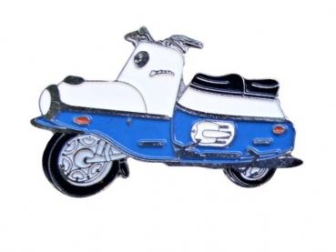 Kovový odznak odlévaný Modrá motorka - nikl