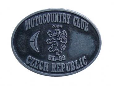 Kovový odznak odlévaný Motocountry club - starozinek