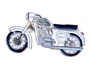 Kovový odznak odlévaný Motorka bílá Jawa mosaz