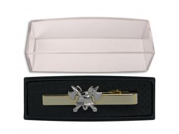Dámská luxusní kravatová spona HASIČI pozlacená se stříbrnou 3D helmou a sekerkami