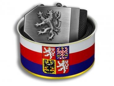 Textilní opasek Český lev - černý + Dárkové balení