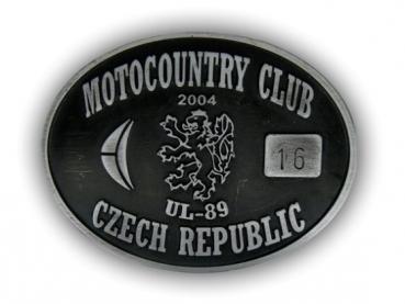 Odlévaná zinková přezka Motocountry Club