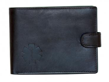 Kožená peněženka s ražbou loga kříž života v černém  provedení