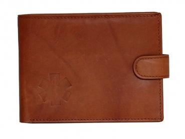 Kožená peněženka s ražbou loga kříž života v hnědém  provedení