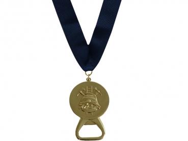Patentovaná medaile s otvírákem  zlatá - tmavě modrá stuha