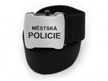 textilni opasek mestska policie s patentovanym otvirakem na pivo - cerny